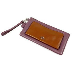 "Coach Mauve & Brown Leather Wristlet Sz 10"" x 5.5"""